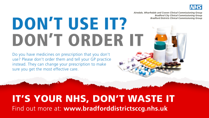Don't use it? Don't order it.  Do you have medicines of prescription that you don't use? Please don't order them and tell you GP practice instead. They can change your prescription to make sure you get the more effective care. It