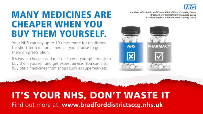 Many medicines are cheaper when you buy them yourself. Your NHS can pay up to 10 times more for medicines for short-term minor ailments if you choose to get them on prescription it